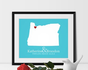 Oregon Map Art, Portland Oregon Wedding Gift for Couples Wedding Gift for Anniversary Gift for Him Oregon Gift -Any STATE