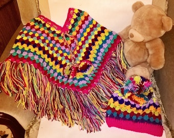 children's child's poncho and pompom hat set crochet, handmade, made to order. any colours of your choice upto 10 colours