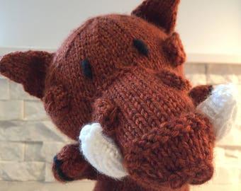 Hand knit warthog puppet, hand puppet warthog, warthog glove puppet, knit puppet warthog, plush warthog puppet, warthog plush toy knitted
