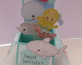 Handmade Pop Up Greeting Card - Under the sea theme, inc. fish and shells