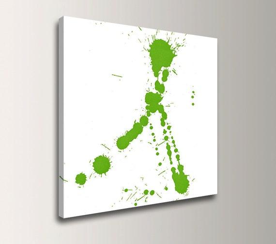 """Lime Green Art Modern Wall Art Paint Splatter Modern Canvas Print Abstract Splat Art - """"Fling"""""""