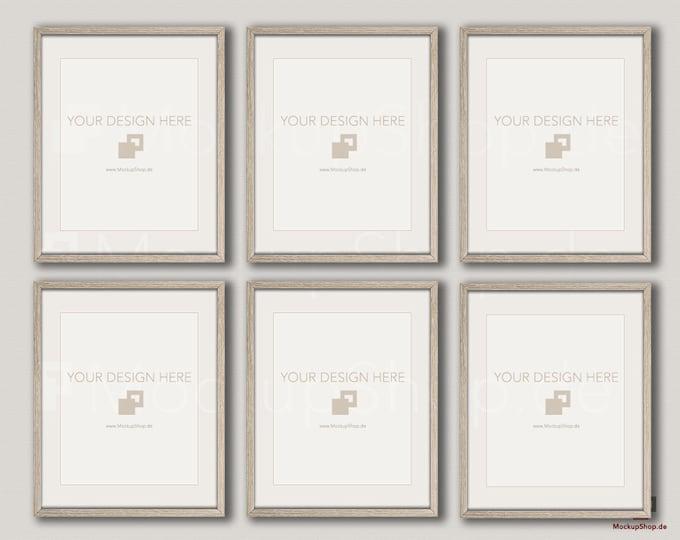 Wood MOCKUP FRAME 8x10 / Set of 6 Frames  / vertical & horizontal Frame / beige wall / Old Vintage Frame Mockup / Vintage nordic style