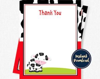 Cow Thank You Cards, Farm Thank You, Boy Thank You Cards, Cow Print Thank You Printable INSTANT DOWNLOAD
