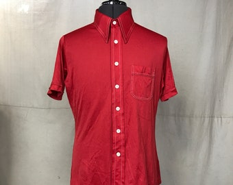 Men's 70s Red Shirt, Mens Casual Red Top Short Sleeve, Landmark Size Medium Polyester