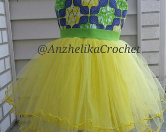 Girls Ankara Dress, Girls Yellow Veil Dress, African Print Dress, Ankara Dress, Liputa Dress, Kitenge Dress