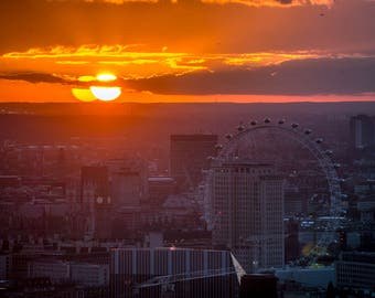 London Eye at Sunset, London Print