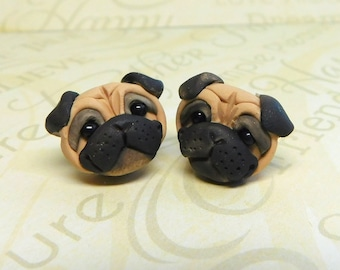 Fawn Pug POST dog Earrings  by Raquel at the WRC hand sculpted polymer clay