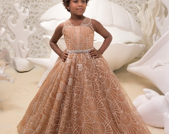 Beige Flower Girl Dress - Wedding Holiday Party Bridesmaid Birthday Flower Girl Beige Tulle Lace Dress  21-069