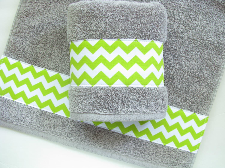 Lime and Grey Towels hand towels towel sets bath towels