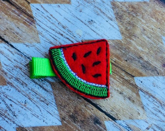 Felt Watermelon Hair Clippie - Summer Fruit Red Girls Photo Prop Hairbow Gift Inexpensive - READY TO SHIP