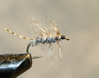 Fly Fishing Flies - Michigan Fisherman - Trout Fishing - Gray - Made in Michigan Fishing Fly - Grizzly Hackle tip for tail - Number 10 Hook