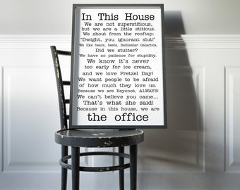 The Office Quotes TV Poster the office tv show In this house Poster Funny Quotes Bedroom Poster Michael Scott Jim Dwight Dunder Mifflin art