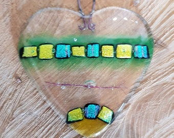 Handmade Small Fused Glass Heart in Green to Hang for Decoration