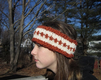 Rust and Off-White Winter Head Band