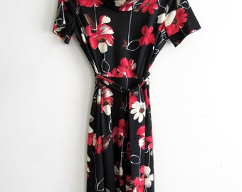 Vintage Toni Todd Floral Print Polyester Dress with Tie Belt