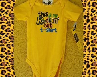 This is my Rockin' out T shirt, baby one piece, bodysuit, crawler, newborn, gift, baby shower