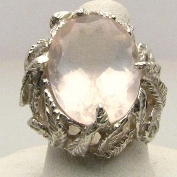 Captivting Rose Quartz Sterling Silver Ring