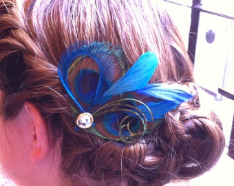 REEANN Natural Blue and Turquoise Peacock Feather Hair Clips