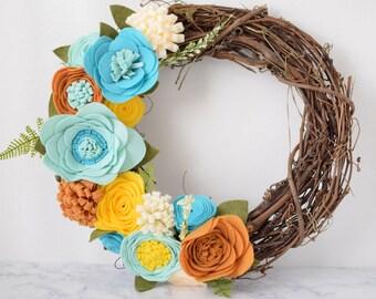 Yellow, Blue, Mustard, Blue, Felt Flower Wreath || Grapevine Wreath || Front Door Wreath || Mantel Wreath || Nursery Decor || Floral Decor