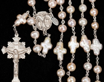 Cross Shaped Pearl Woman's Rosary - Handmade with Freshwater Pearls, Sterling Silver and Ornate Crucifix. Rosaries Gift for Catholic  Women