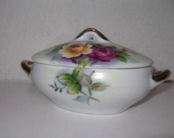 Bonbonnière en porcelaine blanche Vintage bijoux Floral stockage souvenir