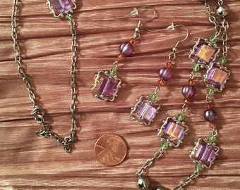 Lavender purple flower necklace and crystal cube earrings