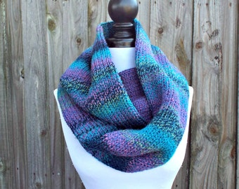 Double Knit Infinity Scarf Womens Knit Circle Scarf - Caribbean Blue Scarf Blue Cowl - Chunky Knit Scarf Womens Accessories