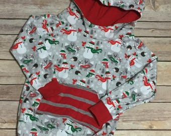 Ready to ship Size 2/3 Christmas snowman hoodie, handmade