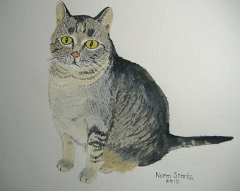 Cat art - Original acrylic painting - Albert the Cat - 8 x 10 inches