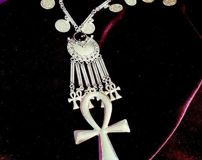 Lucky Ankh Necklace - goth gothic occult coins big ankh neckpiece vampire vamp