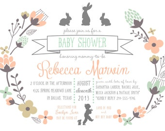 Bunny Baby Shower Invitation {PRINTABLE - 5x7 invitation}