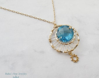 Only one available - Blue Topaz Baha'i star necklace
