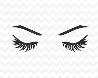 Eyelashes Svg file, Eyebrows SVG Instant Download Woman Eyelashes SVG and PNG file, Makeup svg