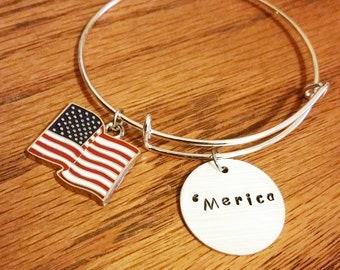 Merica adjustable bangle bracelet american flag jewelry patriotic jewelry proud to be an american stars and stripes jewelry hand stamped