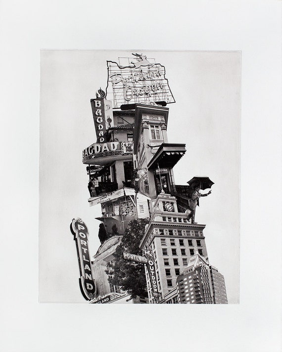 Portland, Oregon Fine Art -  - Leaning Tower of Portland - Original Art Print - Photographic Etching - Photogravure - Photo Collage