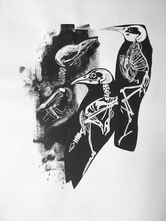 Handgezeichnete Krähe Anatomie Druck