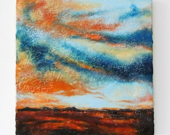Original Landscape Encaustic Painting - Skyscape - Encaustic Art - Textured Abstract Painting - Beeswax Paintng - 12 x 12 Square - KLynnsArt