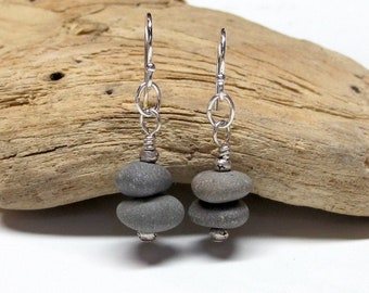 Gray Beach Pebble Dangles