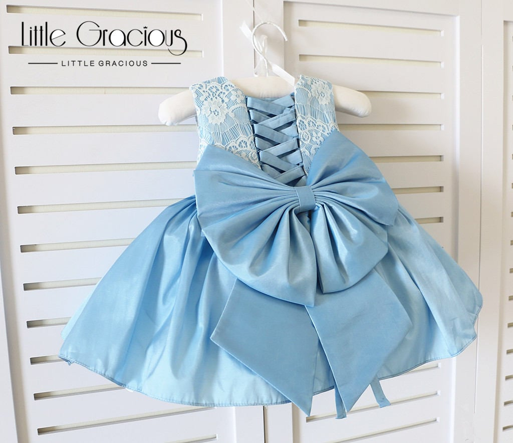 Baby blue Tie-Back Baby Birthday Dress Infant Pageant Dress