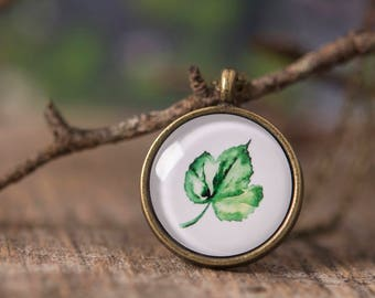 Herb necklace, leaf necklace, nature necklace, green necklace, herb jewelry, leaf jewelry, leaf pendant, herb pendant, watercolor necklace