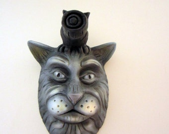 "Here Kitty Kitty. Cat Head Wall Art. Ceramic Sculpture. Pop Surrealism. Kathleen McGiveron. 12.5""h x 8""w x 6""d"