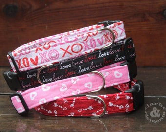 "Valentine Dog Collar, Adjustable Dog Collar, XOXO dog collar, Love dog collar, Heart dog collar, Cupid's Arrows Dog Collar, 1"" Quick release"