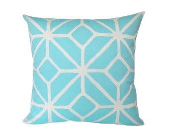Outdoor Pillow Cover in Blue and White Trellis Print by Trina Turk for Schumacher
