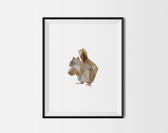 Geometric Art Print, Nursery Art, Baby Room Art, Squirrel Art Print, Minimal Art Print
