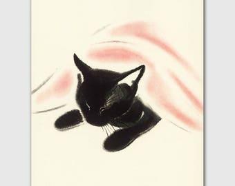 "Cat Print, Baby Nursery Decor (Vintage Black Cat Print, Playroom Wall Art) --- ""Cat Nap"""