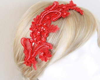 Red Pearl Beaded Lace Headband, Red Lace Hair Band, Bridal Red  Headband, Red Lace Head Piece