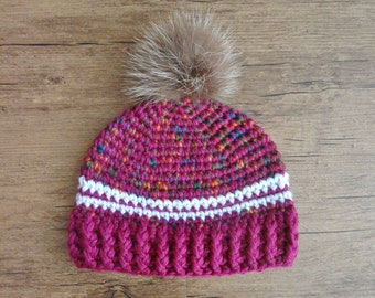 READY to ship / warm crochet baby Hat / Pompom fur recycled / 6-12 months