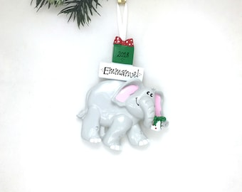 Christmas Elephant Personalized Christmas Ornament  / Zoo Animal Ornament / Hand Personalized Christmas Ornament / Three Kings Day