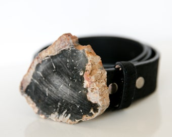 Graphite Grey Petrified Wood Buckle - #279 - Triassic Period 200 Million Years Old
