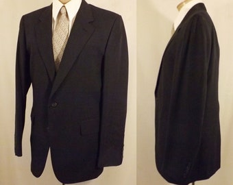 70's Cricketeer Men's Boys Worsted Wool Black Sport Coat Size 36